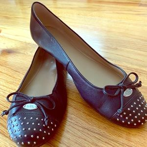 Coach Flats with Cap Toe Stud Detail and Bows